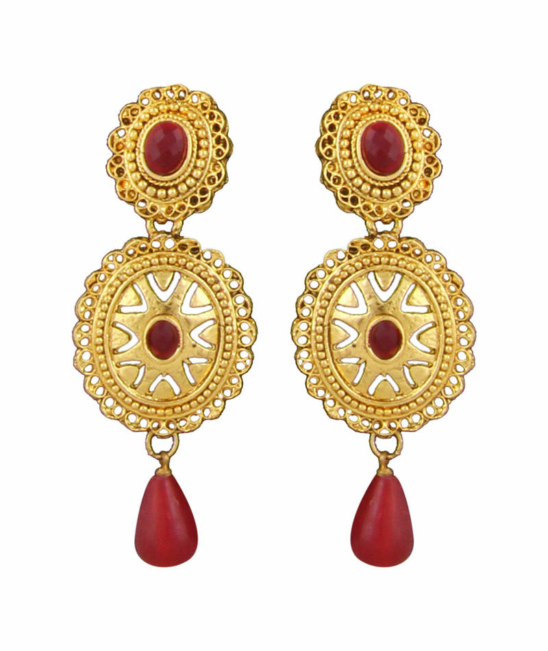 Pink Ruby Jewellery: Buy Gold Plated Red Ruby Desginer Necklace Earrings Set