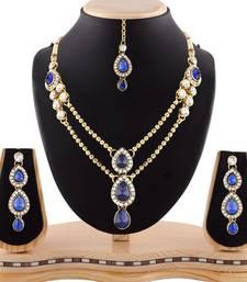 Buy Gracefull design blue austrian stone gold finishing necklace set with maang tikka necklace-set online