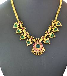 Buy Green palakka necklace with eight palakka Necklace online