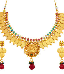 Buy Glimmery Laxmi Temple Coin Gold Plated Necklace Set For Women necklace-set online