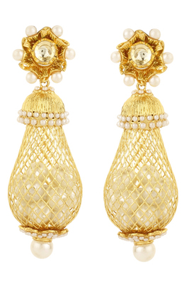 Pure collection gold plated pearl long ethnic earrings