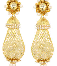 Buy Pure collection gold plated pearl long ethnic earrings danglers-drop online