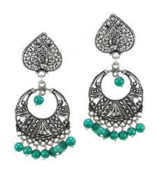 Buy Paan Shape matha With Turquoise Beads Dangler Earrings danglers-drop online