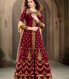Buy Maroon Bangaluri silk Embroidered Designer Anarkali type pakistani Salwar Suit with dupatta semi-stitched-salwar-suit online