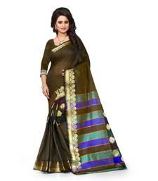 Buy coffee printed tussar silk saree With Blouse tussar-silk-saree online