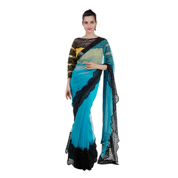electric blue embroidered net saree With Blouse