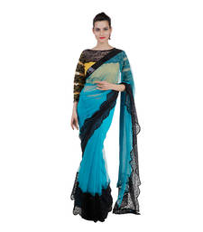 Buy electric blue embroidered net saree With Blouse net-saree online