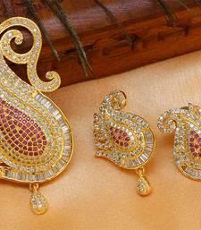 Buy Beautiful Designer  Ruby mango   pendant set south-indian-jewellery online