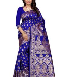 Buy Blue plain Banarasi silk saree With Blouse kanchipuram-silk-saree online