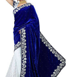 Buy blue embroidered velvet saree With Blouse black-friday-deal-sale online
