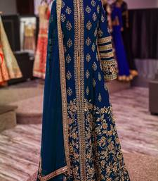 Buy Neavy Blue silk embroidered semi stitiched salwar with dupatta salwar-kameez online