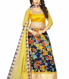Buy Yellow silk embroidered semi stitiched salwar with dupatta anarkali-salwar-kameez online
