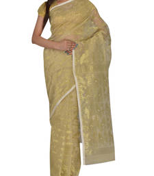 Buy Off white & Gold Bengal handloom  Silk Cotton  jamdani sari without Blouse handloom-saree online