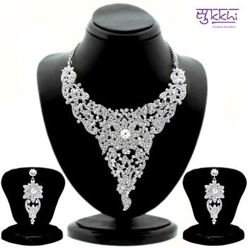 Sukkhi Attractive Rhodium plated AD Stone Studded Necklace Set 1099VN2100