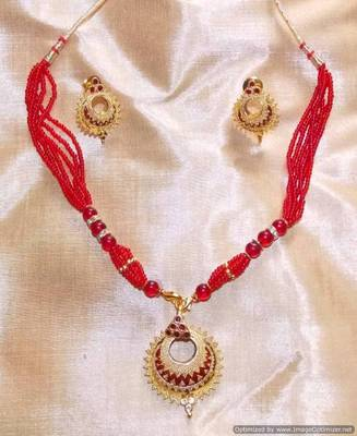 Handmade Indian Assamese Jewellery Keru-Red