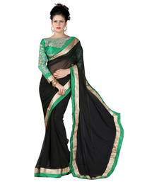 Buy Chiffon saree by Ravechi Fab (Black) designer-embroidered-saree online