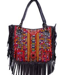 Buy Ethnic embroidery vintage tribal boho leather banjara jambo bag tote-bag online