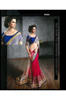 dark_multicolor embroidered georgette saree With Blouse