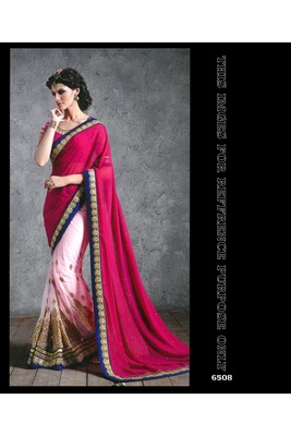 dark_baby_pink embroidered georgette saree With Blouse