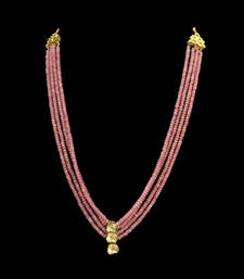 Buy Pink rose quartz stones and uncut kundan necklace Necklace online