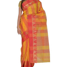 Buy Yellow hand woven cotton saree handloom-saree online