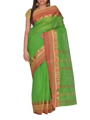 Green hand woven cotton saree