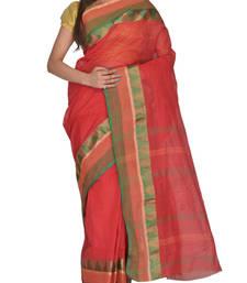 Buy Red hand woven cotton saree handloom-saree online