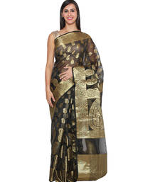Buy Black embroidered chanderi saree With Blouse hand-woven-saree online