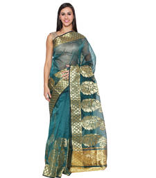 Buy Green embroidered chanderi saree With Blouse hand-woven-saree online