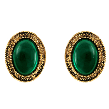 Donna Fashion Green Oval Stud Gold Plated Earrings with Crystals for Wome