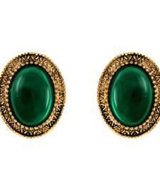 Buy Donna Fashion Green Oval Stud Gold Plated Earrings with Crystals for Wome stud online
