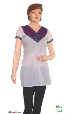 Ethnic Touch - White and Purple Kurti with weaving patch work