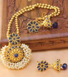 Buy Gorgeous Designer Gold Plated Pendant set south-indian-jewellery online