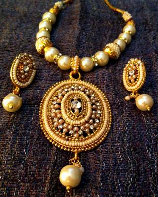 Ethnic Indian Jewelry Bollywood Oval Pearl Polki Glowing Woman Necklace Set d9