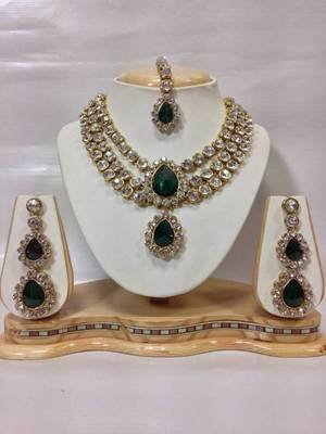 Three Chain Crystal Necklace Set in Bottle Green Color
