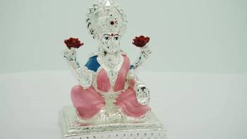 Silver Plated Laxmi Idol in Pink & Blue Combination