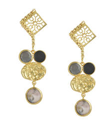 Buy Golden Earrings  with Gray Moon and Black Onex Pink Opal Stones danglers-drop online