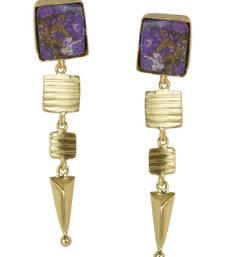 Buy Golden Earrings with Purple Copper Bhatti Stone danglers-drop online