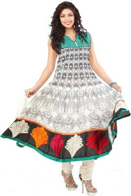 Off-white and Black Embroidered Party and Festival Anarkali Kameez