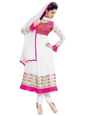 Triveni Outsatnding Pink and White Combined Anarkali TSXRDSK1003