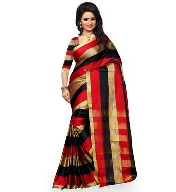 red plain cotton poly saree With Blouse