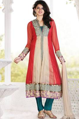 Rose-madder Red and Cerulean Blue Net Embroidered Readymed Anarkali Kameez