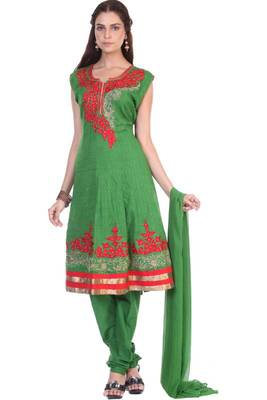 Sea Green Cotton Readymed Embroidered Party and Festival Anarkali Salwar Kameez