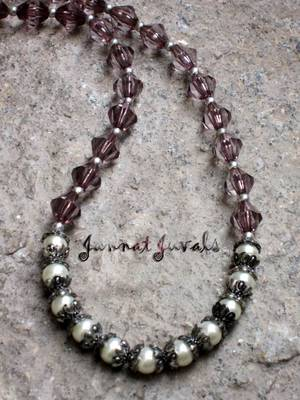 Pink Crystal with Pearl necklace