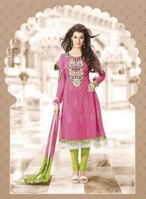 Pink Faux Georgette SemiStitched Suit