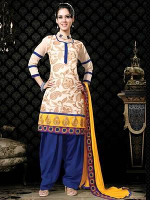 Kalazone Blue,White,Yellow Chanderi Silk Salwar Kameez D8238/S3
