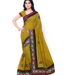 Buy Green embroidered jute saree With Blouse jute-saree online