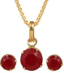 Buy Maroon gold plated pendant set Pendant online
