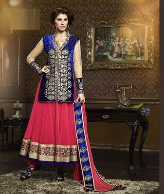 Captivating Party Wear Pink and Blue Anarkali Suit