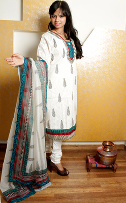 White Cotton Churidaar Kameez with Hand Block Print